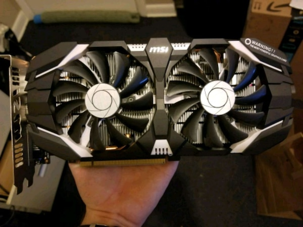 black and silver computer graphics card