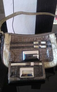 brown and black leather handbag with long wallet
