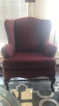 Red and black fabric sofa chair Edmonton, T5H 3S4