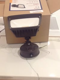 Led flood light. Turns on at night