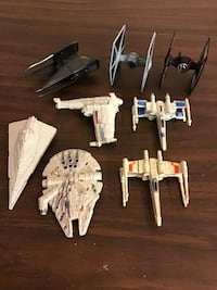 Star Wars micro machines ships x-wing millennium falcon tie fighters