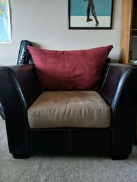 Leather and Suede Armchair  Henderson, 89074