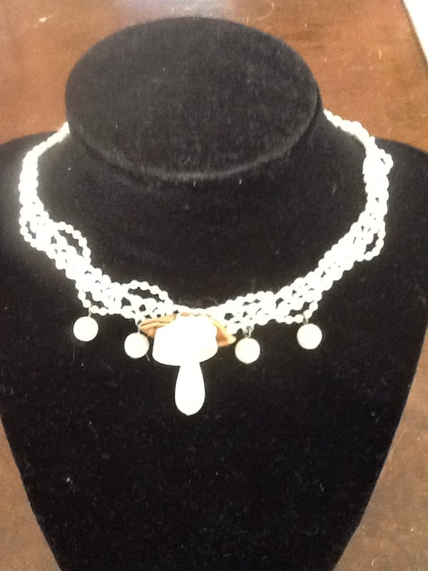 Choker Jewelry Beaded Macrame Ivory 0