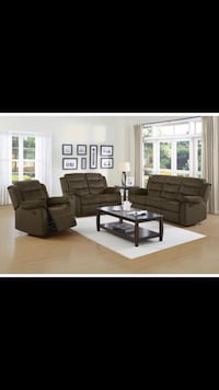 Brown reclining sofa and love seat Bellair, 32073
