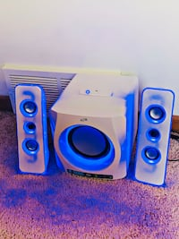 White Bluetooth Speaker w/ blue light