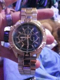 round silver chronograph watch with silver link bracelet North Platte, 69101
