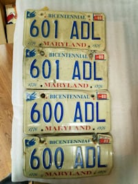 Maryland bicentennial plates from 1976 Mount Airy, 21771