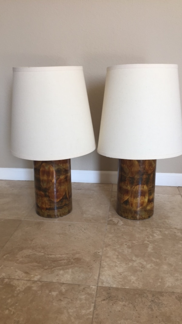Used Two Brown Ceramic Table Lamps With White Lamp Shades For Sale