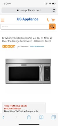 KHMS2040BSS KitchenAid 2.0 Cu Ft 1000 W Over The Range Microwave - Stainless steal Wesley Chapel, 33543