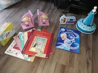 Frozen collectibles (alarm, book/CD, jewelry case), book ends, books Vienna