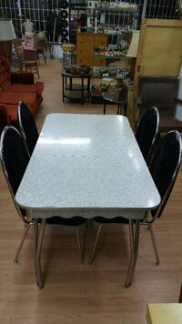 1950s Table With Black Velvet Chairs Kelowna
