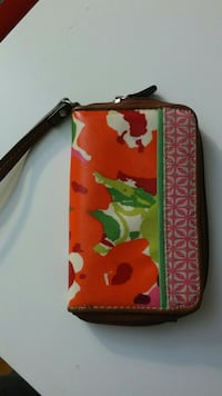 white, red, and green floral wristlet Franklin, 02038