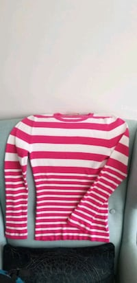 Michael Kors Pink and White Striped Sweater, size M