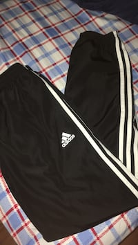 black and white Adidas pants