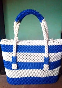 white and blue checkered tote bag New York, 10118