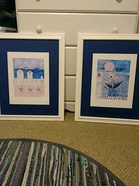 two white and blue wooden photo frames Los Angeles, 91306