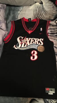 Black and red sixers 3 basketball jersey top