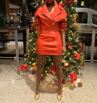 Faux Leather Red Coat Dress