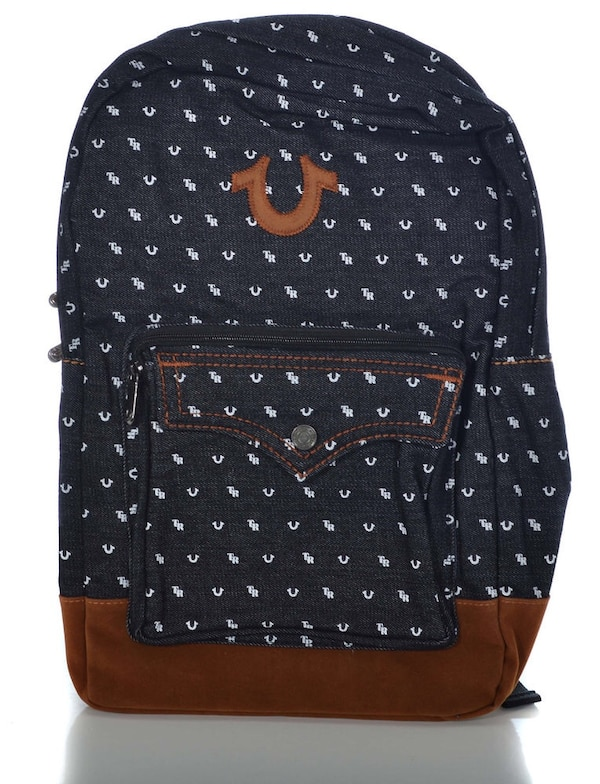 Used monogrammed blue and brown True Religion backpack for sale in Kawartha  Lakes f378118829d84