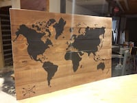 World Map in brown wooden frame