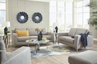New Ashley furniture Contemporary style steel color sofa and loveseat living room set College Park