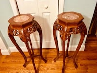 Pair of Carved Tall Plant Stand Oceanside, 11572