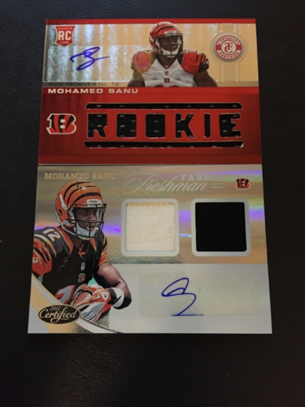 best service 90eb6 c9947 2 Card Mohamed Sanu Auto/Autograph Jersey Lot- Totally Certified, Certified