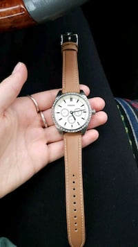 round silver chronograph watch with brown leather  Calgary, T2N 4V8