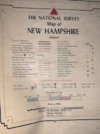 1973 New Hampshire wall map, retractable Rochester, 03867