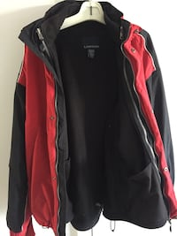 black and red full-zip jacket
