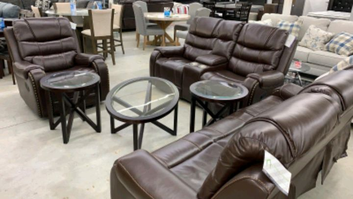 Photo BROWN reclining set with COFFEE TABLE set ONLY $54 Down NO CREDIT NEE