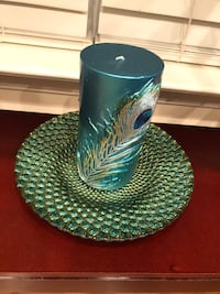 Peacock candle & candle plate pier 1 Manassas, 20111