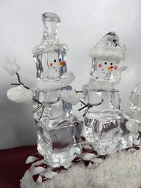 Lighted Snowman Family