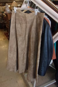 Suede leather long brown skirt size 12 16827