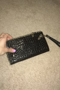 Black leather clutch wallet