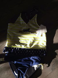 Yellow, blue, and white polka-dot striped tankini Barrie, L4M 0C6