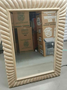 Large wall mirror / Dusty Rose color wood frame