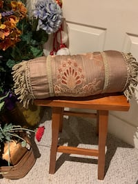 Silky taupe rust & mossy green pillow roll Wilmot, N3A