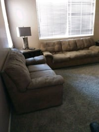 brown fabric sectional sofa with throw pillows Surprise, 85388