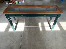 Glass top side table, hall table, or credenza