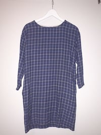 Wool checked blue dress, size S Oslo, 0864