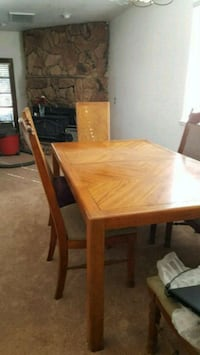 rectangular brown wooden table with four chairs dining set Modesto, 95351