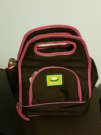 black and pink fabric lunch bag