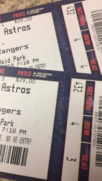 Two tickets to tonight's game section 432 row 4 seats 3 and 4.  You pick them up   Deer Park, 77536