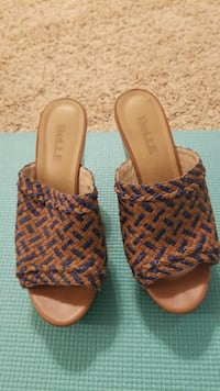 brown-and-blue open toe Belle sandals