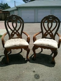 two brown wooden framed white padded armchairs Burbank, 91506