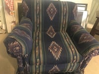 Navajo inspired chair and ottoman. Navy, green and beige. Good condition. Port Coquitlam, V3B 2A3