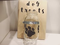 clear glass wall-mount mason jar with beige wooden board Barrie, L4M 3V3