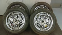 chrome 5-spoke car wheel with tire set