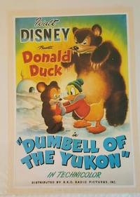 """Cool Donald Duck, """"Dumbell of the Yukon"""" Litho.! Modesto, 95350"""